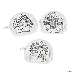 Color Your Own Valentine Doodle Heart Coin Purses