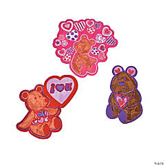 Color Your Own Valentine Fuzzy Teddy Bear Magnets