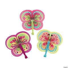 Colorful Butterfly-Shaped Folding Hand Fans