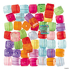 Colorful Clear Cube Beads - 12mm