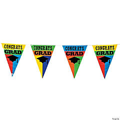 Colorful Congrats Grad Plastic Pennant Banner