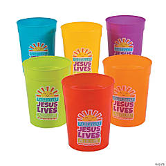 Colorful He Lives Plastic Cups