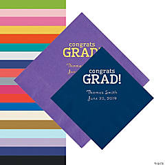 Congrats Grad Personalized Napkins - Beverage or Luncheon