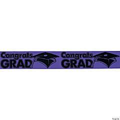 """Congrats Grad"" Purple Streamers"