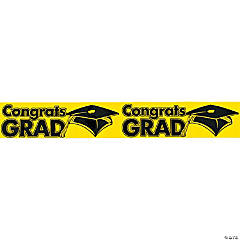 """Congrats Grad"" Yellow Streamers"
