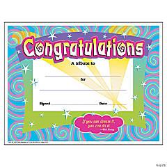 Congratulations/Swirls Certificates - 30 per pack, 6 packs