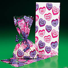 Conversation Heart Goody Cellophane Bags