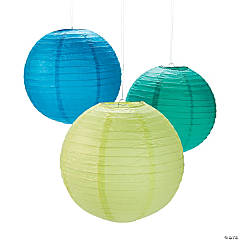 Cool Colors Hanging Paper Lanterns