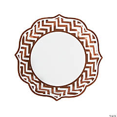 Copper Chevron Scalloped Edge Dinner Plates