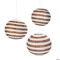 Copper Striped Paper Lanterns