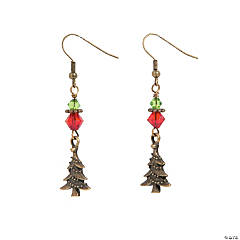 Copper-Tone Christmas Tree Earring Craft Kit