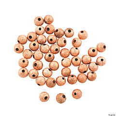 Copper-Tone Glitter Round Beads - 6mm