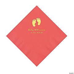 Coral Baby Feet Personalized Napkins with Gold Foil - Luncheon