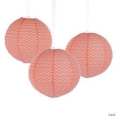 Coral Chevron Hanging Paper Lanterns