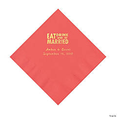 Coral Eat Drink & Be Married Personalized Napkins with Gold Foil - Luncheon