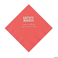 Coral Eat Drink & Be Married Personalized Napkins with Silver Foil - Luncheon