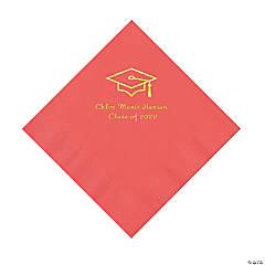 Coral Grad Mortarboard Personalized Napkins with Gold Foil – Luncheon
