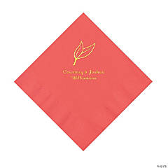Coral Heart Leaf Personalized Napkins with Gold Foil - Luncheon