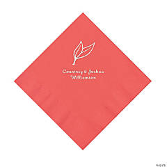 Coral Heart Leaf Personalized Napkins with Silver Foil - Luncheon
