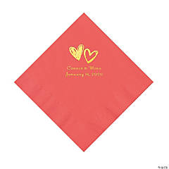 Coral Hearts Personalized Napkins with Gold Foil - Luncheon