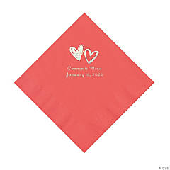 Coral Hearts Personalized Napkins with Silver Foil - Luncheon