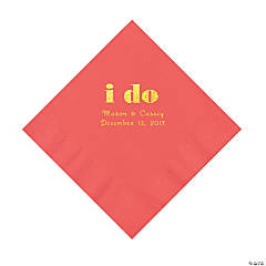 Coral I Do Personalized Napkins with Gold Foil - Luncheon