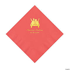 Coral Just Married Personalized Napkins with Gold Foil - Luncheon