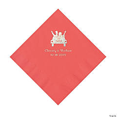 Coral Just Married Personalized Napkins with Silver Foil - Luncheon