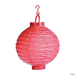 Coral Light-Up Hanging Paper Lanterns