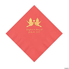 Coral Love Birds Personalized Napkins with Gold Foil – Luncheon