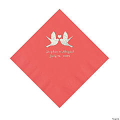 Coral Love Birds Personalized Napkins with Silver Foil - Luncheon