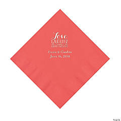 Coral Love Laughter & Happily Ever After Personalized Napkins with Silver Foil – Luncheon