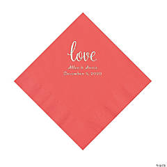 Coral Love Script Personalized Napkins with Silver Foil - Luncheon