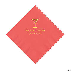 Coral Martini Glass Personalized Napkins with Gold Foil - Luncheon