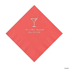 Coral Martini Glass Personalized Napkins with Silver Foil- Luncheon