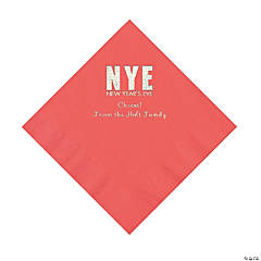 Coral New Year's Eve Personalized Napkins with Silver Foil - Luncheon