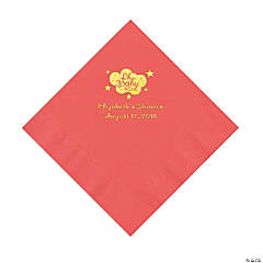 Coral Oh Baby Personalized Napkins with Gold Foil - Luncheon