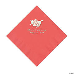 Coral Oh Baby Personalized Napkins with Silver Foil – Luncheon
