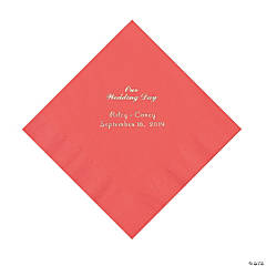 Coral Our Wedding Day Personalized Napkins with Silver Foil - Luncheon