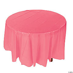 Coral Round Plastic Tablecloth