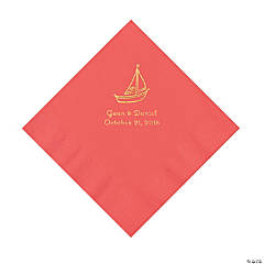 Coral Sailboat Personalized Napkins with Gold Foil - Luncheon