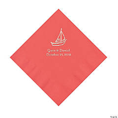 Coral Sailboat Personalized Napkins with Silver Foil - Luncheon