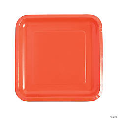 Coral Square Paper Dinner Plates