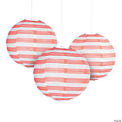 Coral Striped Hanging Paper Lanterns