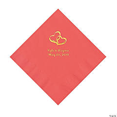 Coral Two Hearts Personalized Napkins with Gold Foil - Luncheon