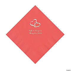 Coral Two Hearts Personalized Napkins with Silver Foil - Luncheon
