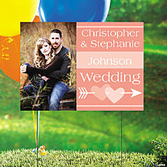 Coral Wedding Custom Photo Yard Sign