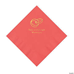 Coral Wedding Ring Personalized Napkins with Gold Foil - Luncheon