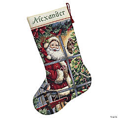 Counted Xstitch Kit-Candycanesanta Stock