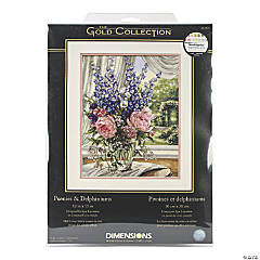 Counted Xstitch Kit-Peonies/Delphiniums